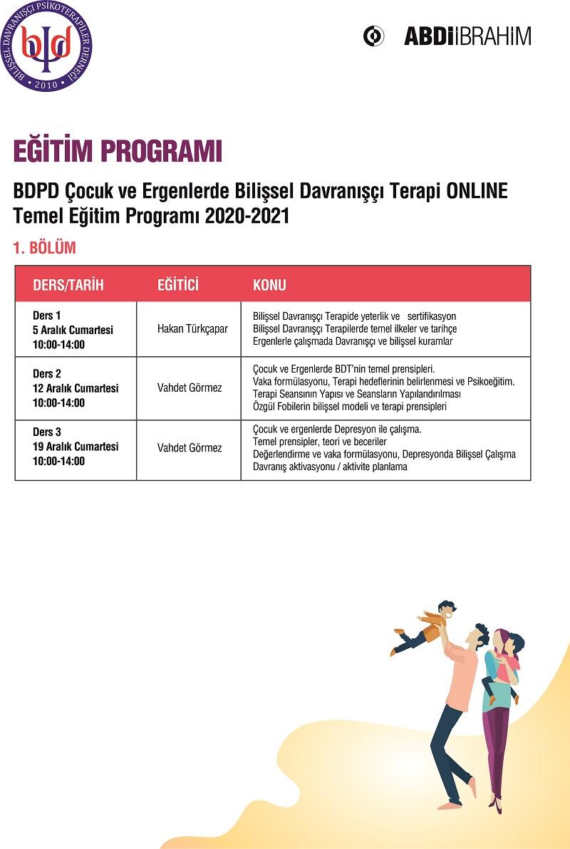 BDPD Çocuk ve Ergenlerde Bilişsel Davranışçı Terapi Temel Kuramsal Programı 2020-1