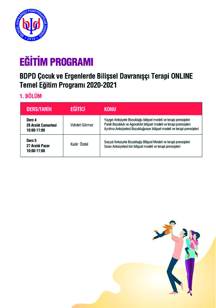BDPD Cognitive Behavioral Therapy Basic Theoretical Program in Children and Adolescents 2020-2