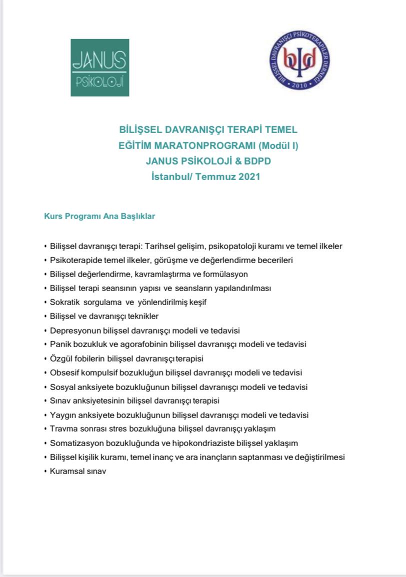 İstanbul Janus Online Bilişsel Davranışçı Terapi Modül 1 Eğitimi
